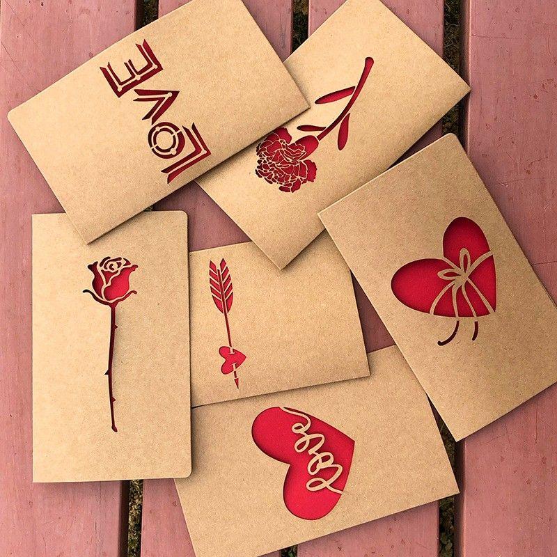 rectangle kraft paper blessing cards vintage rose flower