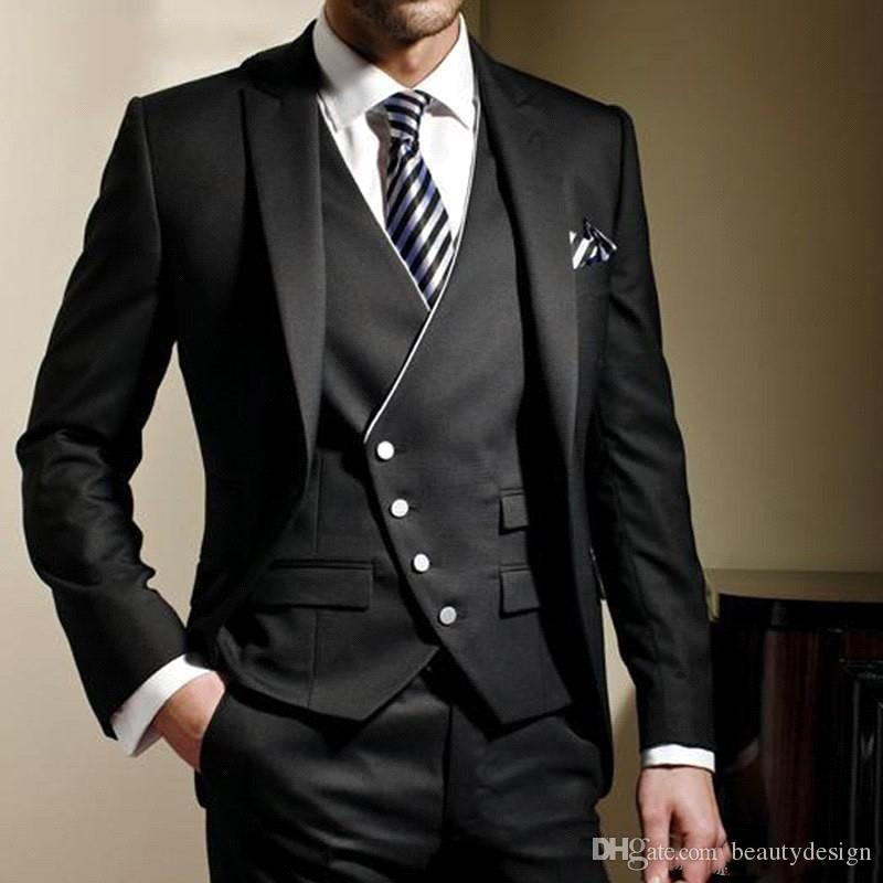 Classy Black Formal Event Men Suit Slim Fit Men Suits Bespoke Groom Tuxedos Blazer for Wedding Prom Jacket Pants with Vest 3Pcs SU0059