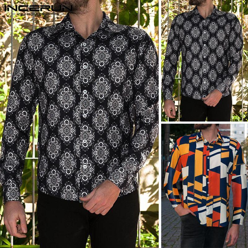 Mode Imprimer Hommes Marque Chemise À Manches Longues Bouton Style Ethnique Casual Tops Streetwear Hommes Plage Hawaiian Shirt 2019 S-5XL INCERUN