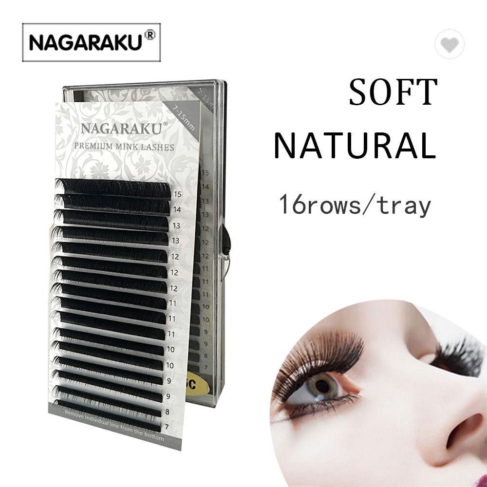 d76e71f3530 NAGARAKU 7~15mm MIX 16rows/Case Naturally Artificial Mink Eyelash Extension  Mink Lash Individual Lashes Premium Mink False Eyelashes Semi Permanent ...