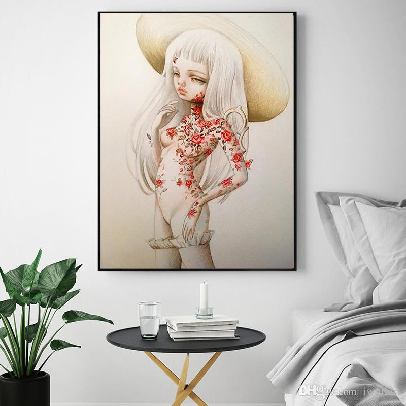 The White Hair Girl by Kukula Oil Painting on Canvas Graffiti For Living Room Art Wall Picture for Living Room Poster Print Home Decoration