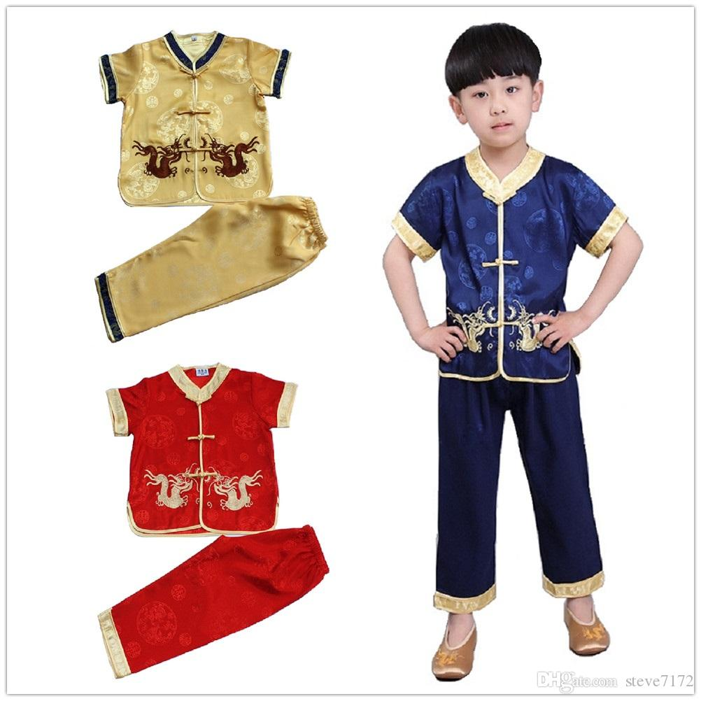 4fd8d6923 2019 Chinese Traditional Kungfu Suit For Children Tang Clothes Set  Embroidery Dragon Baby Boys Cardigan Tee Trouser New Year Costumes From  Steve7172, ...
