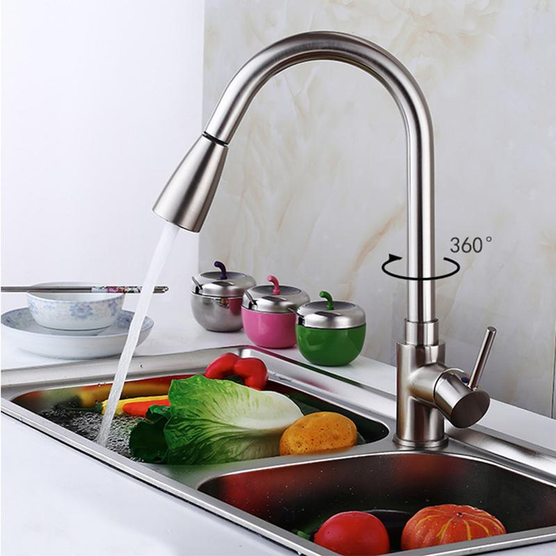 2019 Single Handle Kitchen Sink Faucet Square Modern Stainless