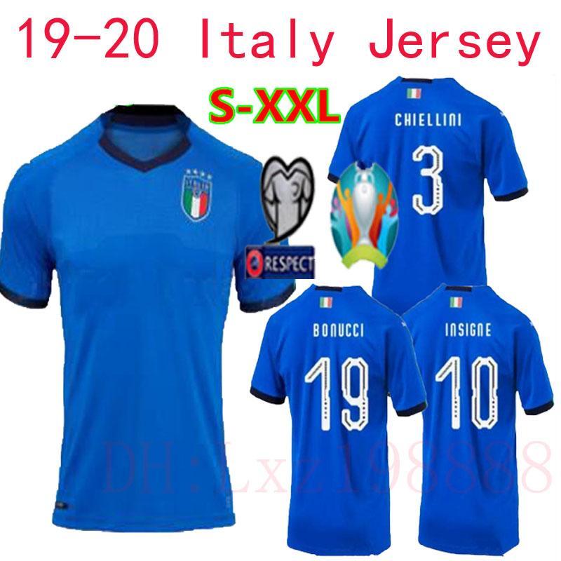 2019 2020 New Italy Soccer Jersey 19 20 European Cup Bonucci Jerseys  Immobile Insigne Canereva Chiellini Buffon Football Shirts