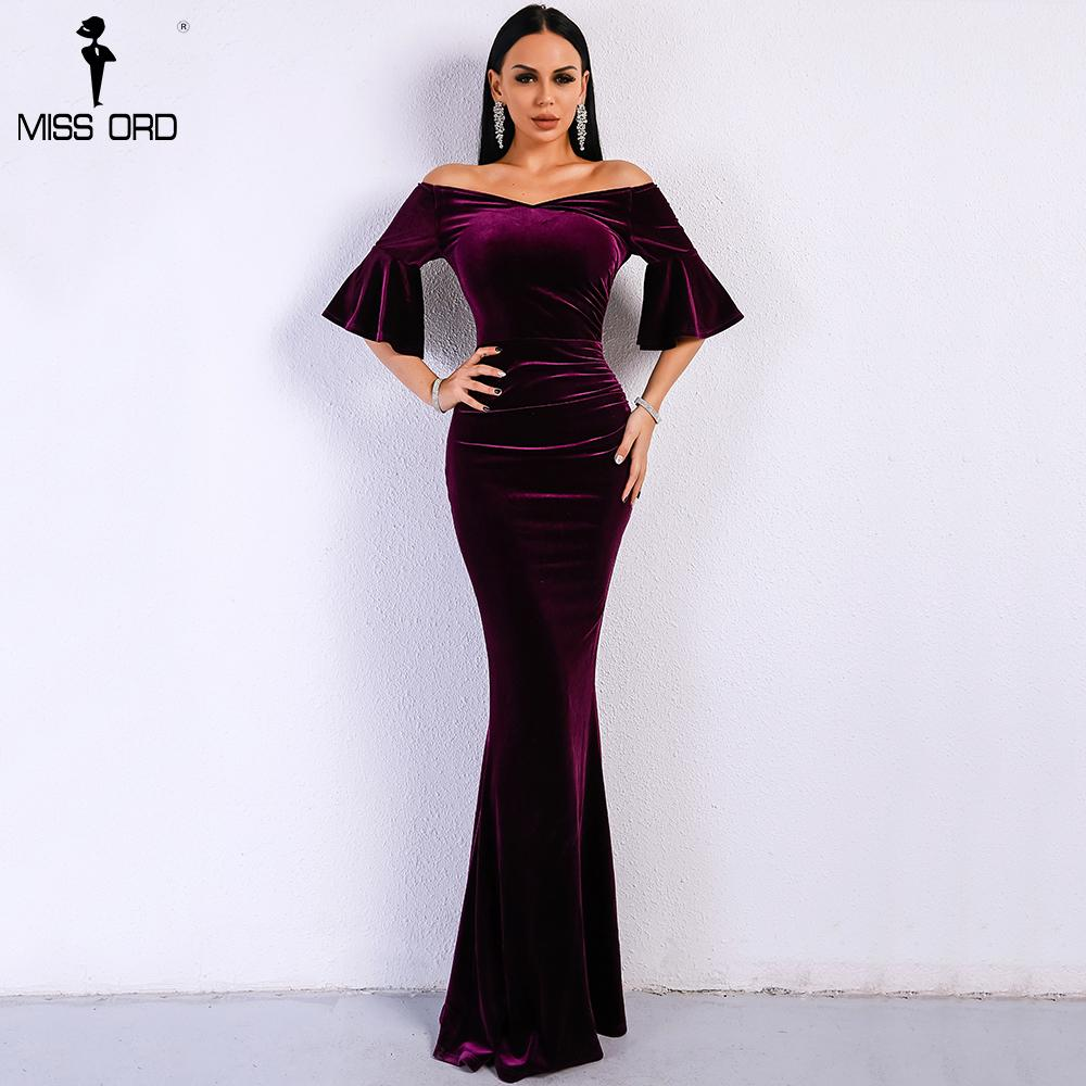 Missord Women Sexy Off Shoulder Speaker Sleeve Female Dresses Velvet Solid Color Bodycon Elegant Maxi Party Dress Ft9080 Q190510