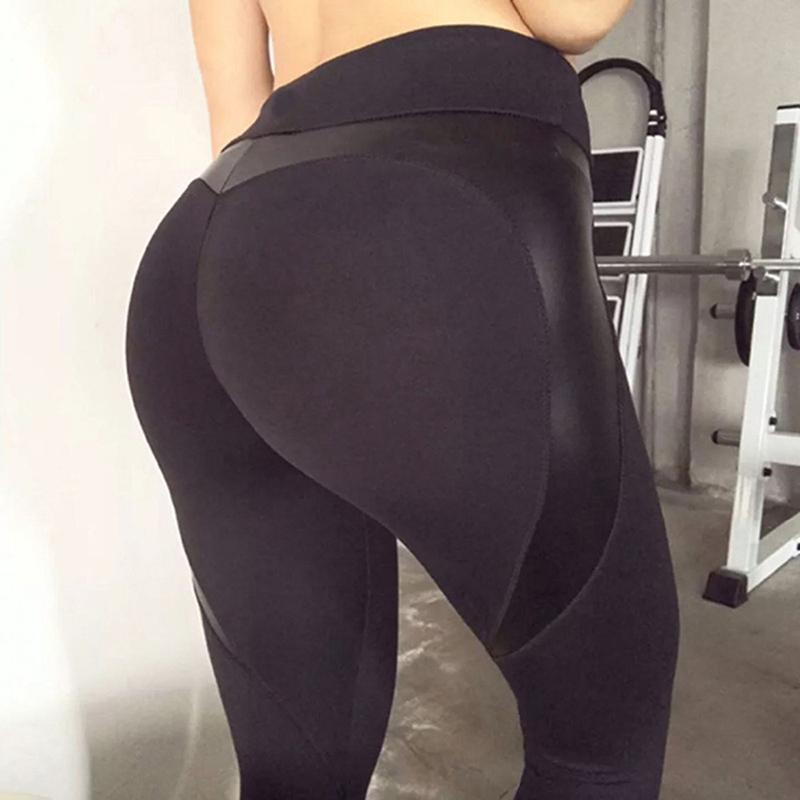 1831c30ee66f7 2019 Push Up Workout Leggings Fitness Black Heart Shape Booty Leggings PU  Leather Patchwork Skinny Long High Waist Pants Sexy Women From Your08, ...