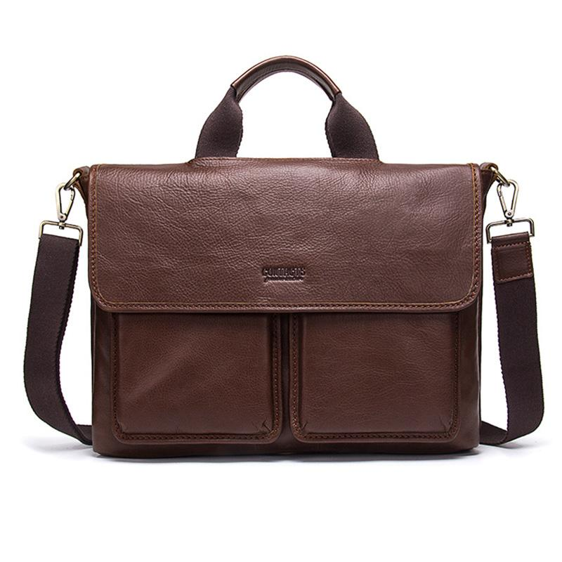 Porte-documents en cuir véritable hommes poignée souple homme sacs à main Brown Messenger homme Crossbody imperméable porte-documents pour sac à main