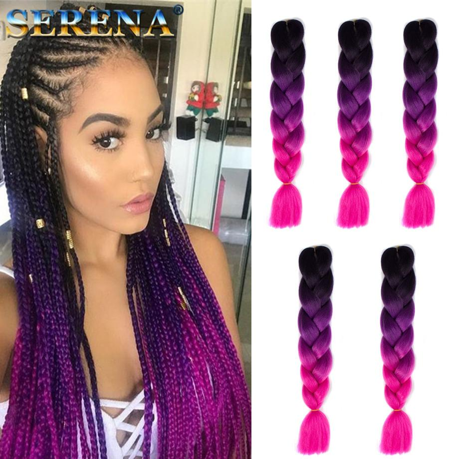 Ombre Colors Synthetic Xpression Braiding Hair 24inches 100g pack Jumbo Braids Kanekalon Xpression Braiding Hair Crochet Hair Extensions