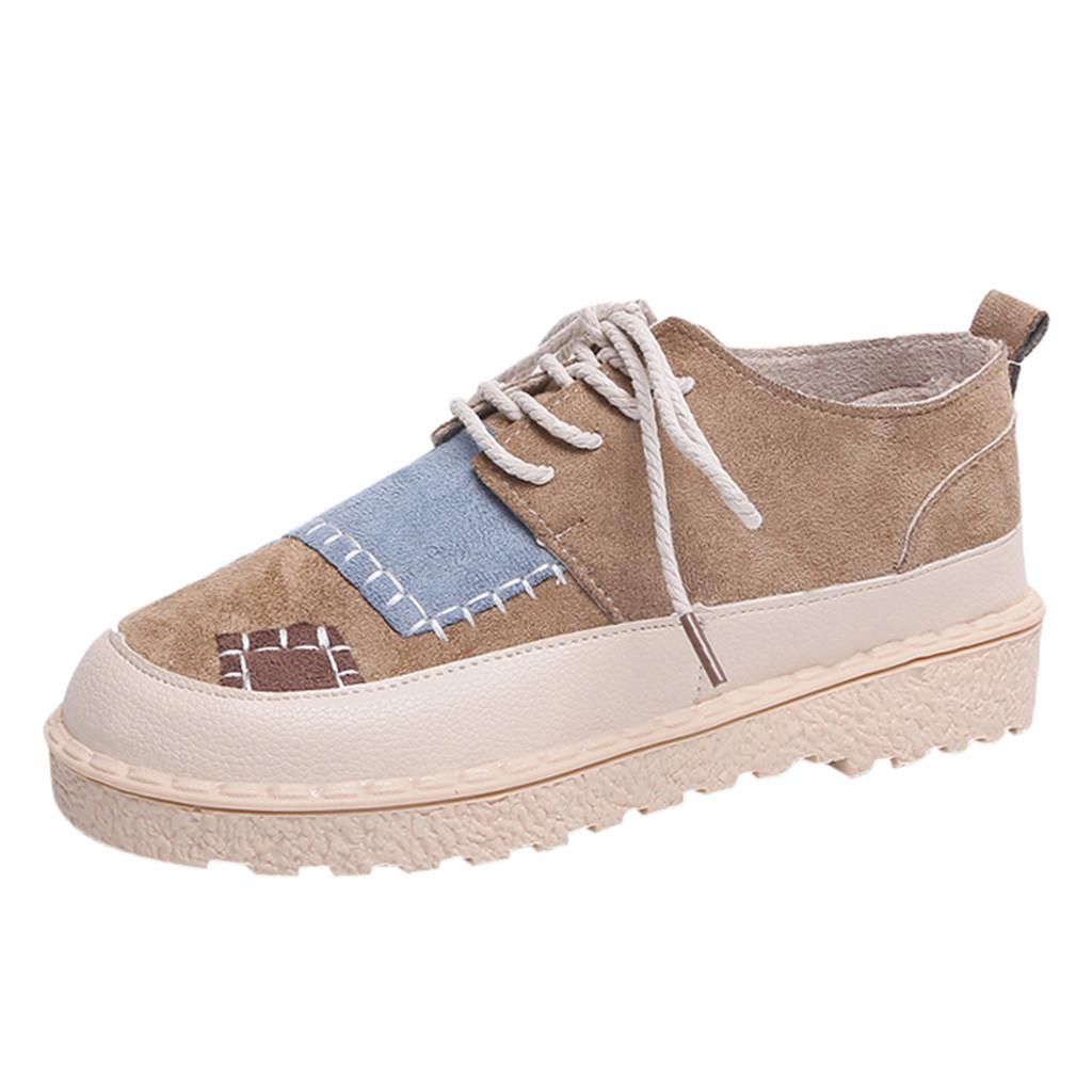 164190d3be2a1 Women Ladies Fashion Round Toe Flat Patchwork Casual Loafers Sneaker ...