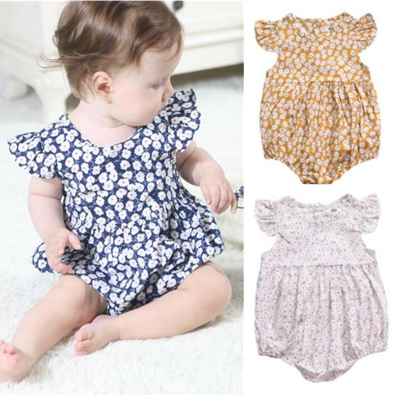 orangemom Newborn - 3 years Baby Girls Butterfly sleeve Romper 3 colour baby rompers summer nice flower clothing