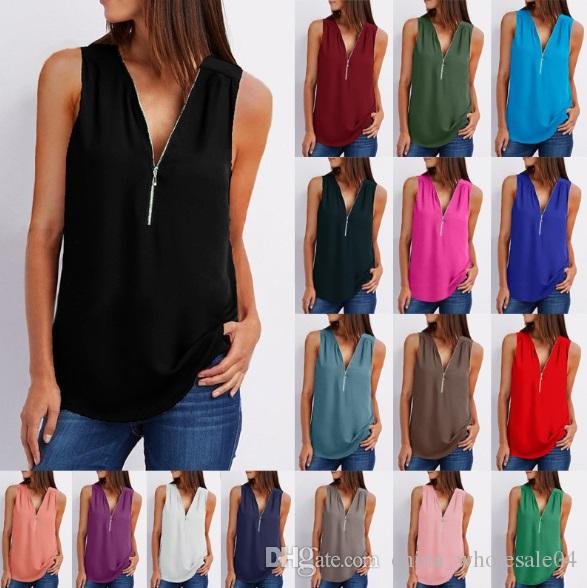 a8637b2e310 Sleeveless Shirts Women Clothing Streetwear Solid Color Sexy Zipper ...