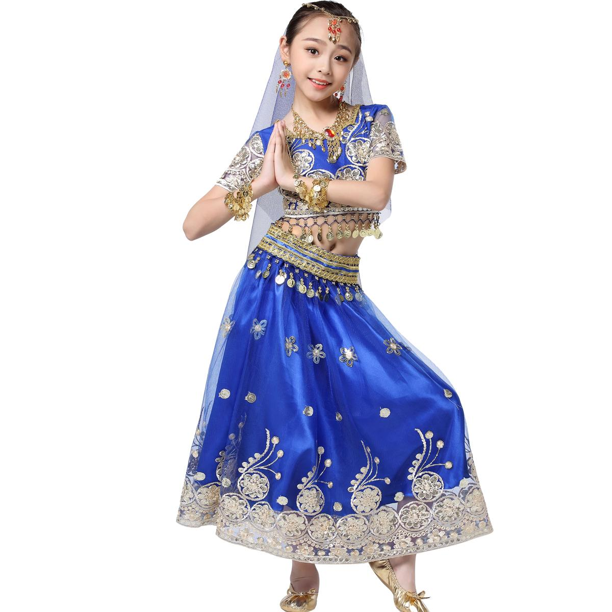 Bollywood Belly Dance Costume - Halloween Costumes Indian Dance Dress Sari Costume Dancewear for Girls (Top+Belt+Skirt+Head Veil+Headpiece)