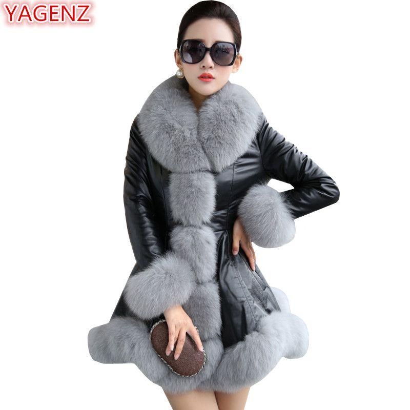 c1ccdb4e5f64b 2019 YAGENZ Fashion Women Leather Jacket High Quality Imitation Fox Fur  Collar Plus Size 9XL Winter Coat Women Leather Long Coat 751 From  Necksweater