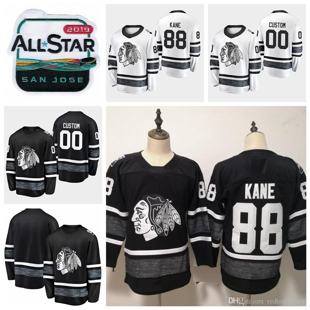 2019 2019 All Star Game Patrick Kane Customize Chicago Blackhawks Hockey Jerseys  Black White Jersey  88 Patrick Kane Stitched Shirts Best Quality From ... a25b4d57756