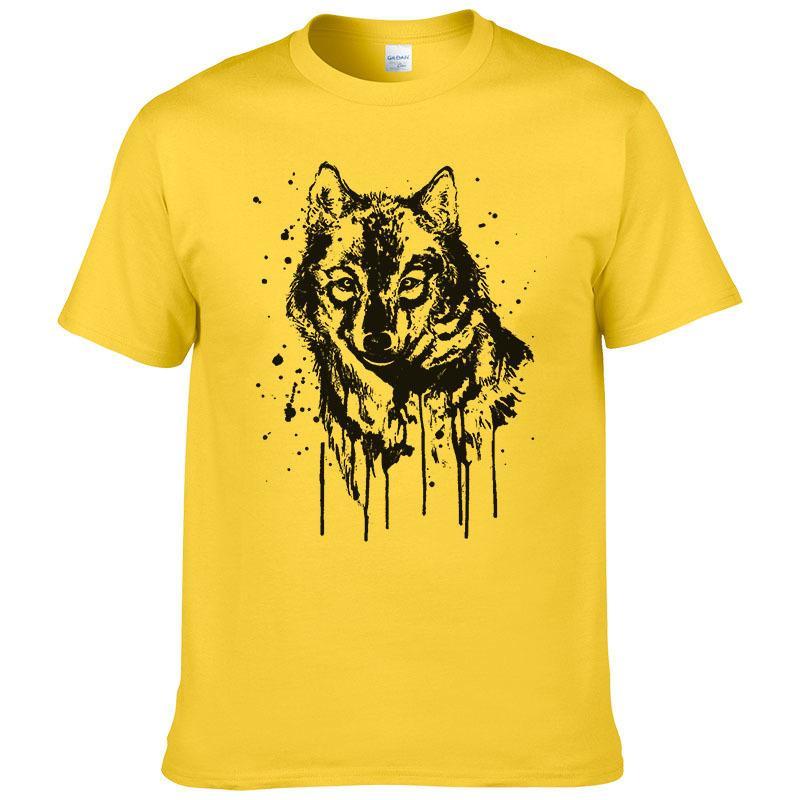 2019 Creative Design Splash-ink Wolf T Shirt Men Summer Cotton Short Sleeve  Brand T-shirt Fashion Animal Printed Cool Tees #201