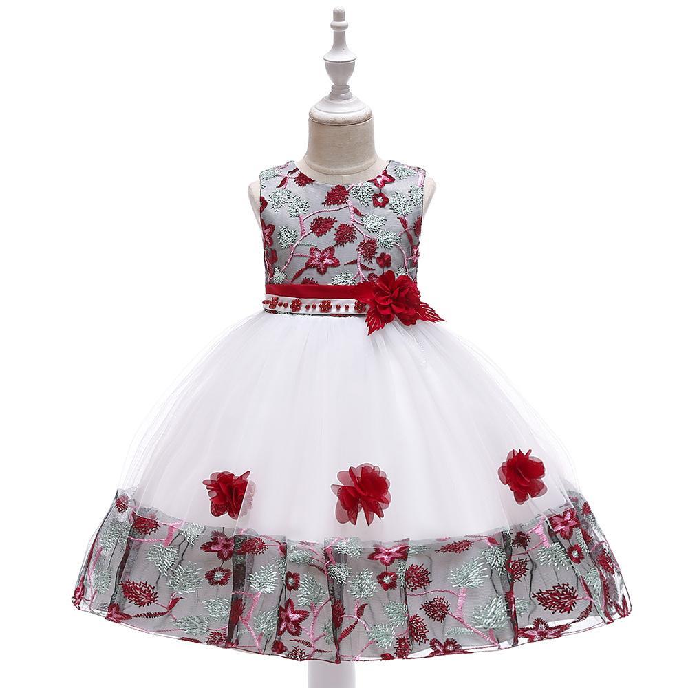 Compre Vestido Bordado Infantil De Encaje Para Colorear Princesa