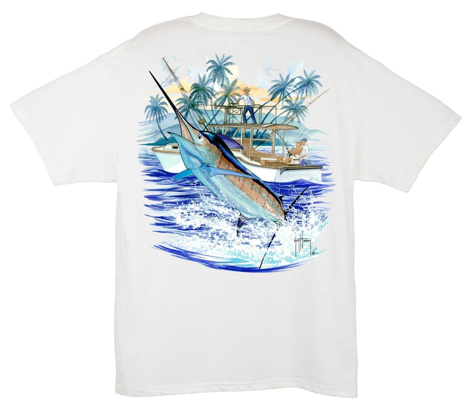 ec3e4bd0a4bb1 Guy Harvey Men s Marlin and Boat 2 Fishing Pocket T-shirt. Pick  Size...White..3X Funny free shipping Unisex Casual Tshirt top