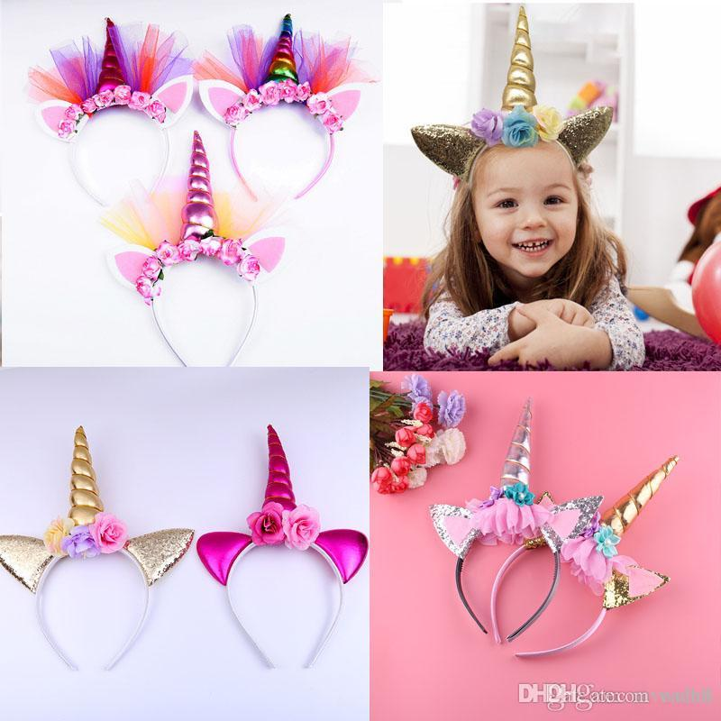 2019 Children Kids Adult Unicorn Horn Headbands Easter Birthday Party Hair  Headwear With Shinny Glitter Ears Flowers Headbands From Weled 54184b39be7
