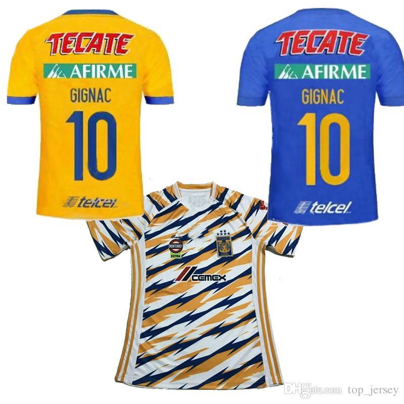 fe0aafa0fde99 18 19 MX Club Tigres UANL Amarillo Local Lejos Camiseta De Fútbol 3RD Azul  GIGNAC 6 Estrellas Vargas H. Ayala Camiseta De Fútbol SOSA 2019 TAMAÑO S  2XL Por ...