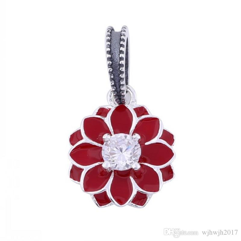 9432e01e7 2019 Authentic 925 Sterling Silver Bead Charm Enamel Blooming Dahlia With  Crystal Pendant Fit Pandora Bracelet Bangle Diy Jewelry From Wjhwjh2017, ...