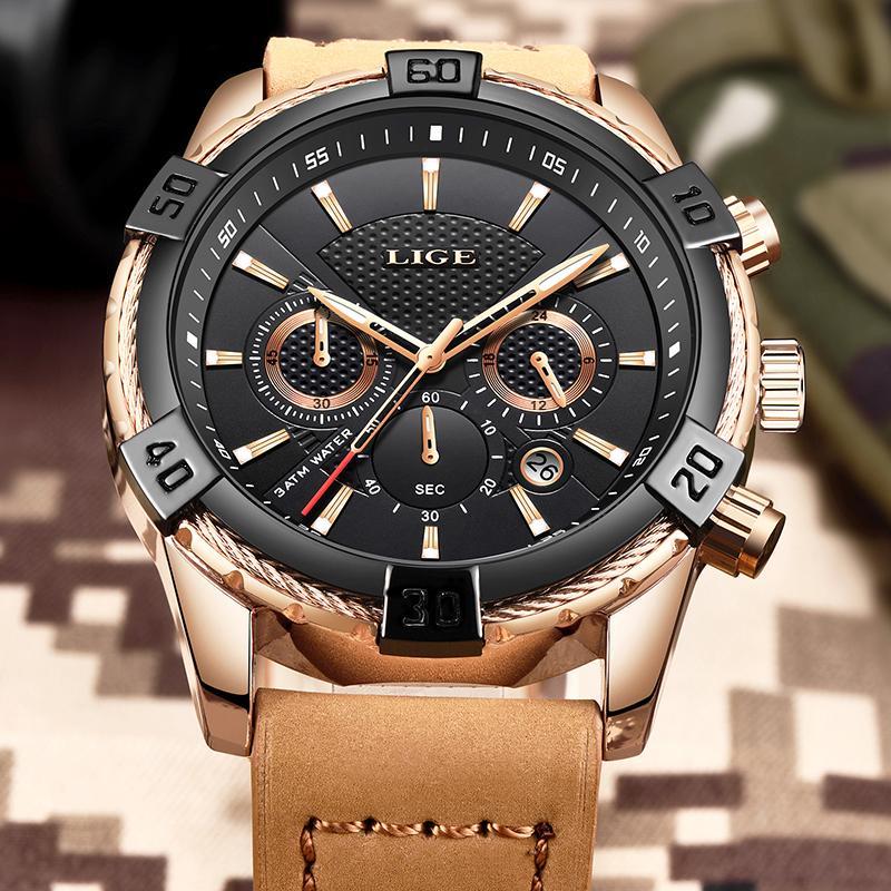 5f46a52d63f1 Compre 2019 Nuevo LIGE Relojes Para Hombre Top Marca De Lujo Moda Deportes  Reloj Impermeable Hombres Cuero Cuarzo Negocio Reloj De Pulsera Montre  Homme A ...