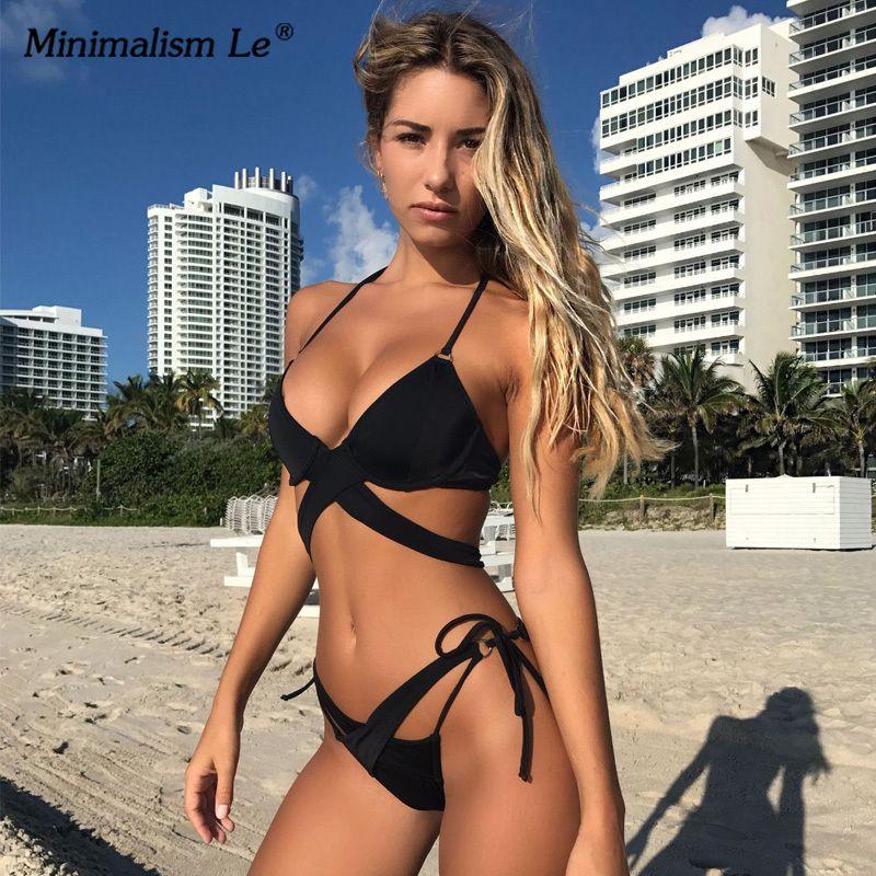 Back To Search Resultssports & Entertainment Swimming Minimalism Le 2019 Sexy Solid Swimwear Bikini Sets Swimsuit Halter Bikinis Bathing With Pad Womens Beach Wear Bandage Biquini