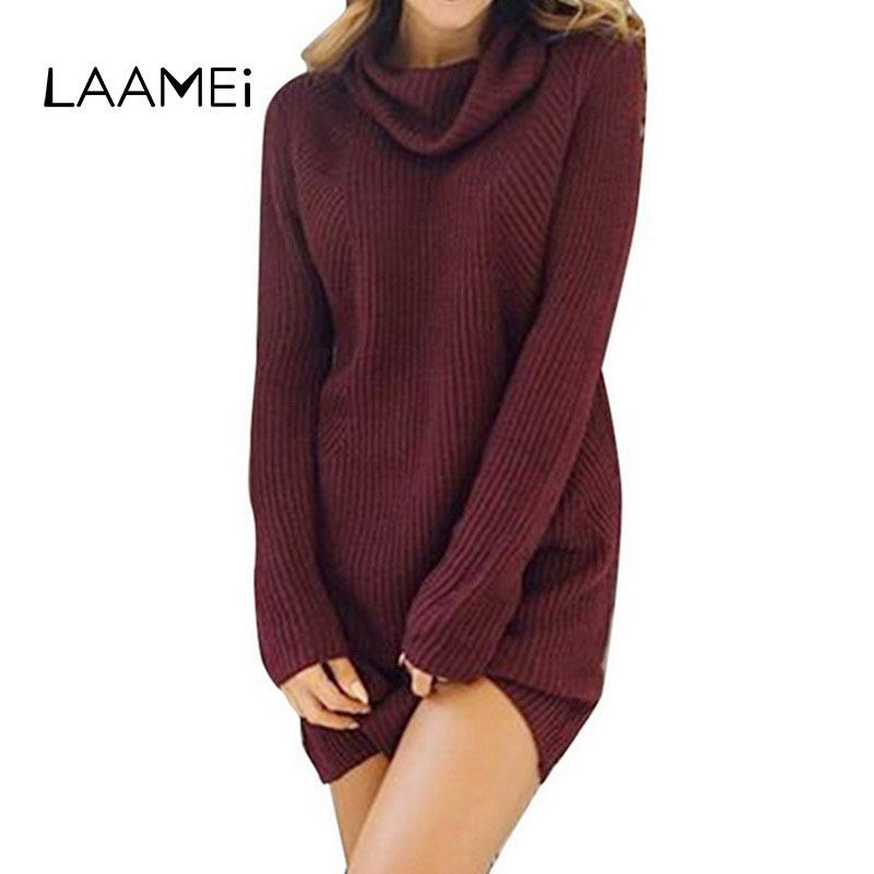 fdac641e348 2019 Laamei Autumn Winter Dress Women 2019 Turtleneck Warm Knitted Sweater  Dress Female Casual Loose Oversized Long Sweater Dresses Y19012201 From  Shenyan01 ...