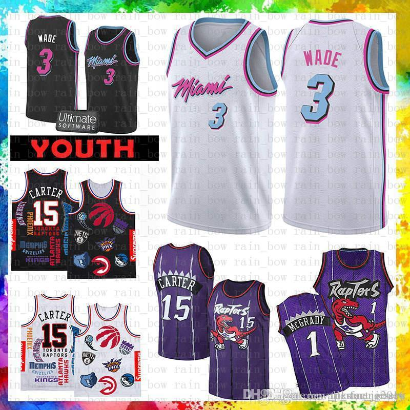 info for 2fd3a be6fd Dwyane 3 Wade Miami Jersey Heat 2019 SUP Vince 15 Carter Tracy 1 McGrady  Basketball Jerseys Mesh Retro wholesale Cheap Sale