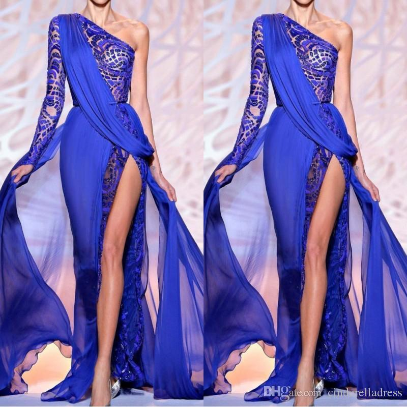 2019 Sexy Zuhair Murad Evening Dresses One Shoulder Long Sleeve Royal Blue High Side Slit Pageant Party Gowns Formal Prom Wear BO9766