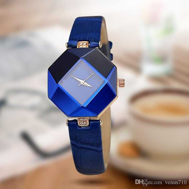 2502be21551 Women Watches Gem Cut Geometry Crystal Leather Quartz Wristwatch ...
