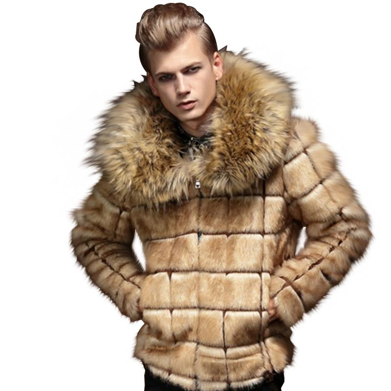 6369af477 Winter Mens Fur Coats and Jackets Fake Fox Fur Collar Men Faux Coats Plaid  Design Warm Khaki 4XL Leather Jackets