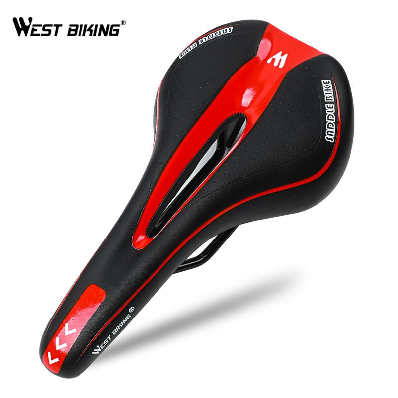 282cb23d6e9 2019 WEST BIKING Soft Bike Bicycle Saddle PU Leather Comfortable Road  Mountain Bike Seat Silica Gel Cushion Shockproof Front Seat Mat From  Diedou