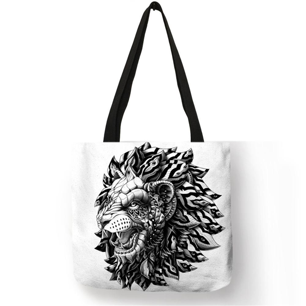 9c967f6df9 2019 Popular Simple Design Tote Bag Animal Print Lion Deer Skull Eco Linen  High Quality Material Handbags Ladies Men Black Handbags Weekend Bags From  ...