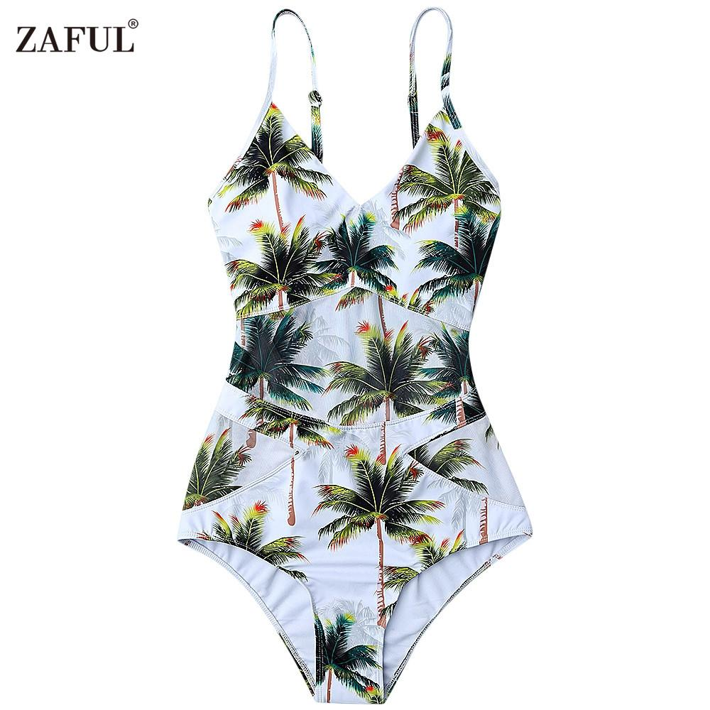 fa677a2395f05 2019 ZAFUL One Piece Bikini Swimwear Women Plant Elastic Spaghetti Strap  Coco Palm Tree Swimsuit Bathing Suits Size S/M/L/XL White From Armhole, ...