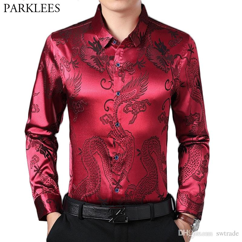 d1cb26445 2019 Wine Red Smooth Silk Satin Shirt Men 2019 Chinese Dragon Jacquard Mens  Slim Fit Long Sleeve Button Down Dress Shirts Chemise 4XL #490540 From  Swtrade, ...