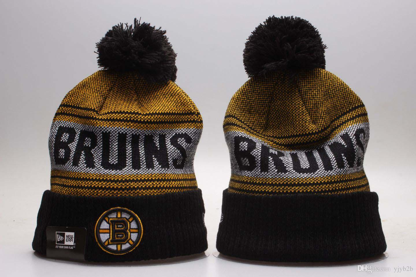huge discount 3c559 469e4 ... usa new mens boston bruins knitted cuffed pom beanie hats striped  sideline warm giants hockey teams