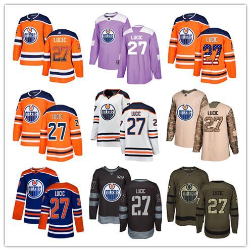 the best attitude deba6 0a658 Edmonton Oilers jerseys #27 Milan Lucic Jersey hockey men women youth royal  blue orange white home Breakaway Stiched authentic Jerseys