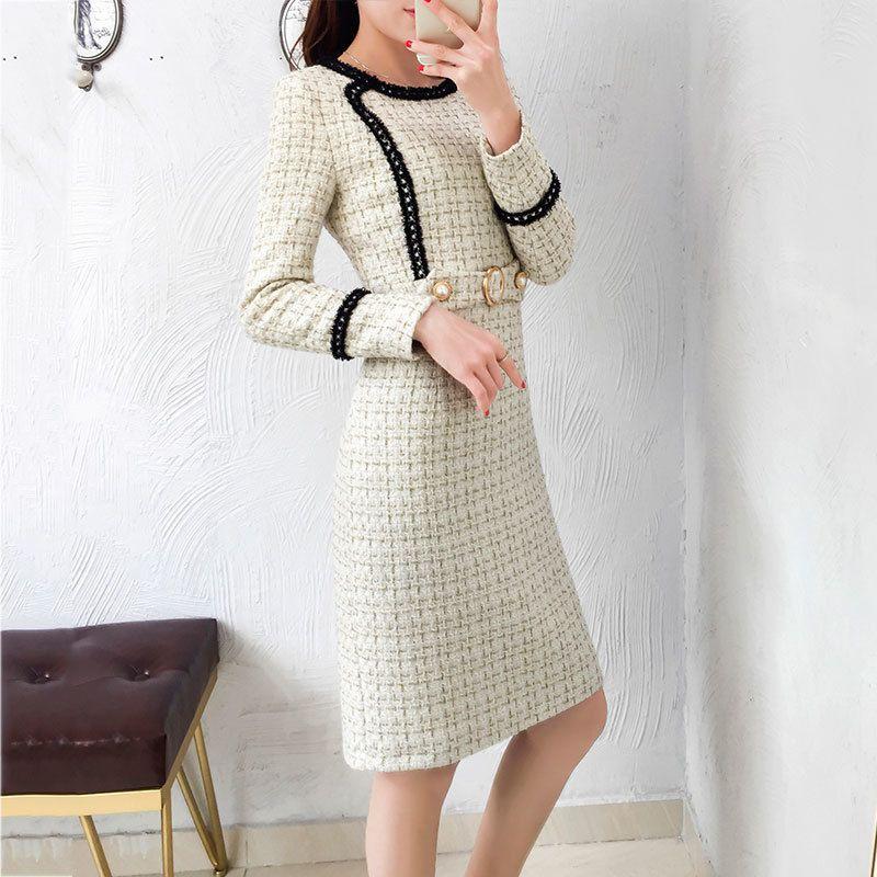 15715b72a98549 Großhandel Neue Tweed Kleid Frauen 2019 Frühling Vintage Herbst Wolle Plaid  Kleider Weibliche Elegante Kleine Duft Wollkleid Damen Büro C19012101 Von  ...