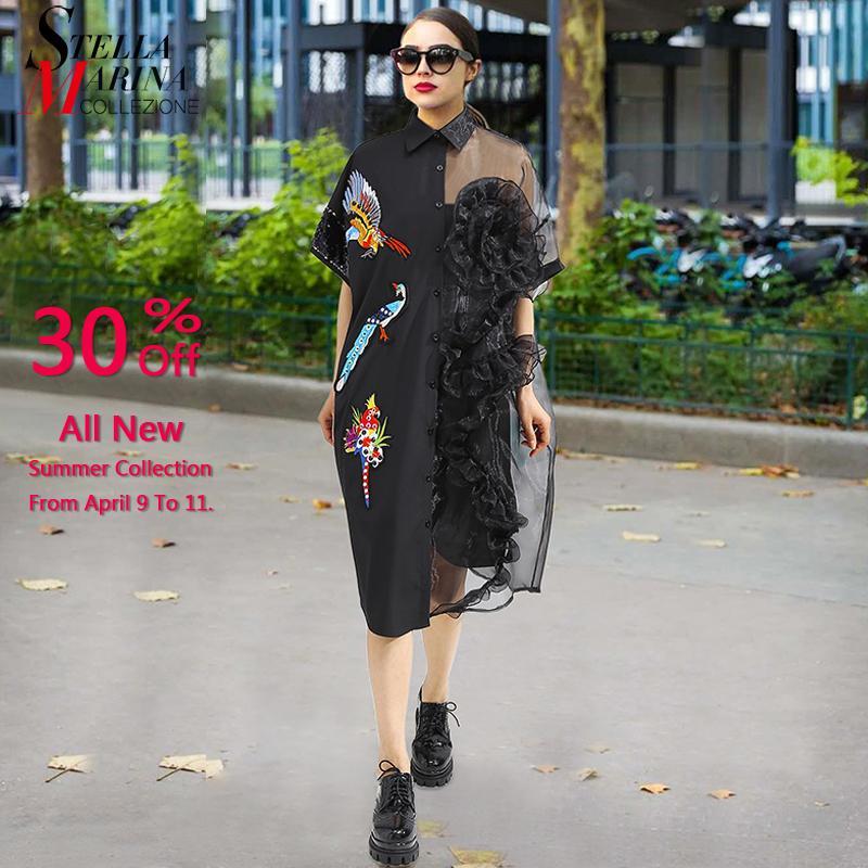 25a0057c8 2019 2019 Summer Women Black Midi Mesh Shirt Dress Plus Size Ruffle ...