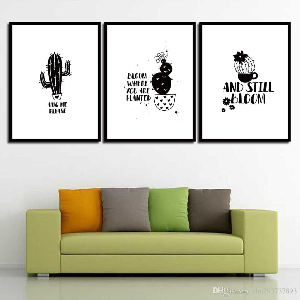 HD Paintings Wall Art Cartoon Cactus Modern Quotes Canvas Print Nordic Posters Pictures For Office Living Room Home Decor