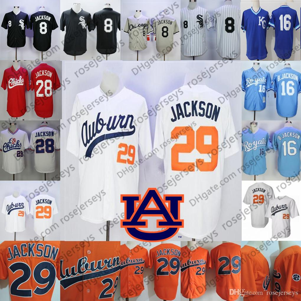 new product 93843 ca16e NCAA Auburn Bo Jackson White Vintage Jersey Men s Retro College Baseball 29  Orange Stitched Memphis Chicks 28 KC University 16 Blue 8 Black