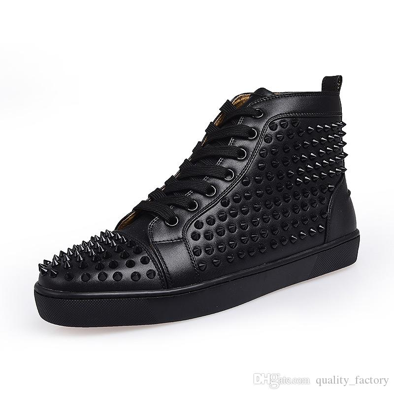 498cf7d0a22 2019 Top Designer Luxury Red Bottoms Shoes Unisex Men Women Red Bottoms  Heels Fashion Spikes Studded Spikes Flats Sneakers Red Bottom Shoes From ...