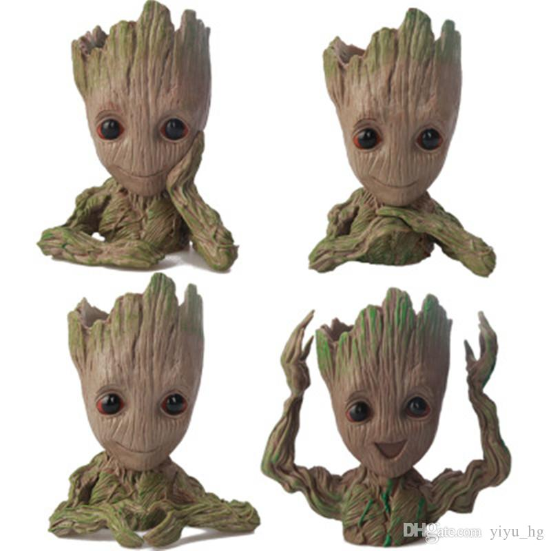 Baby Groot Flower Pot Plant Tree Guardiani della Galassia Action Figure Model PVC Kids Toys Collezione Movie Garden Pot Decoration Figurines