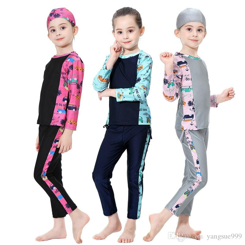 2f928194ee597 2019 Muslim Girl Swimsuit Kids Conservative Arabian Islamic Swimwear  Burkinis Modest Three Piece Children Cloth Summer Cartoon Print From  Yangsue999, ...