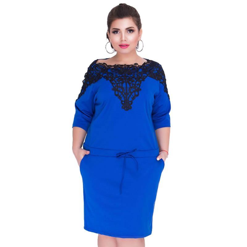 Women Elegant 5XL 6XL Plus Size Dress Lace Splice Drawstring 3/4 Sleeve  Office Ladies Workwear O Neck Pockets Bodycon Midi Dress
