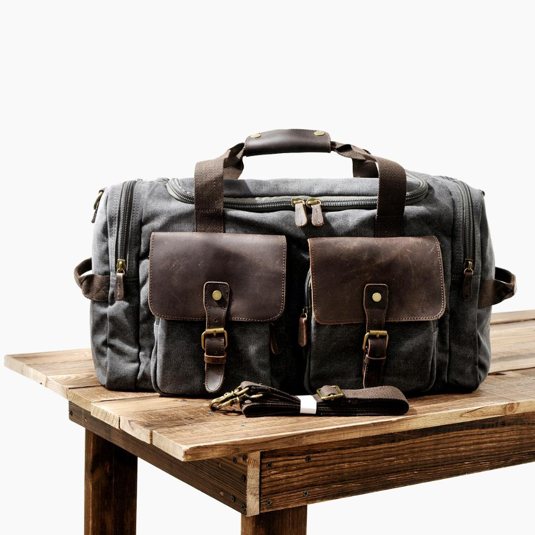915018fa2 MUCHUAN Mens Canvas Leather Travel Bags Carry On Luggage Handbags Big  Traveling Duffel Bags Tote Large Weekend Bag Overnight Weekend Bags Travel  Backpacks ...