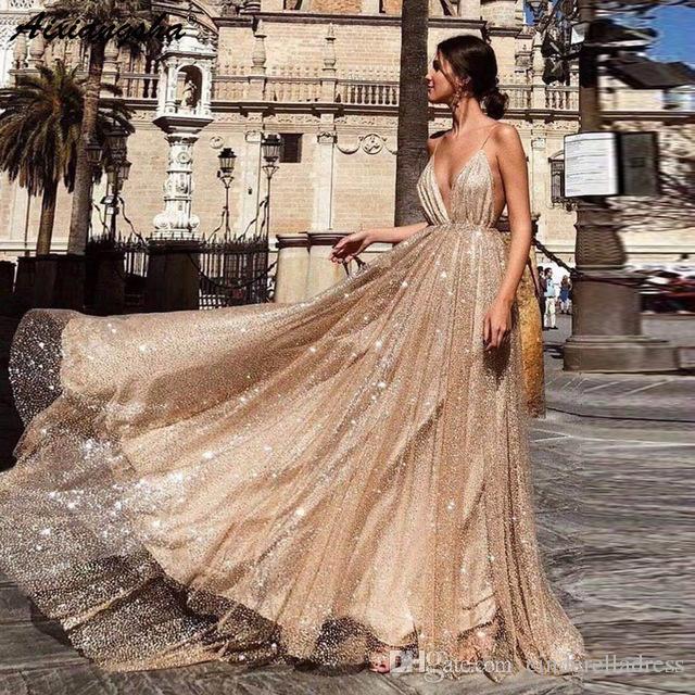 4ede76fed2 Compre Sexy Correas Espaguetis De Oro Una Línea De Vestidos De Baile 2019  Lentejuelas Sin Respaldo Vestidos De Noche Formales Elegante Más Tamaño  Vestido De ...