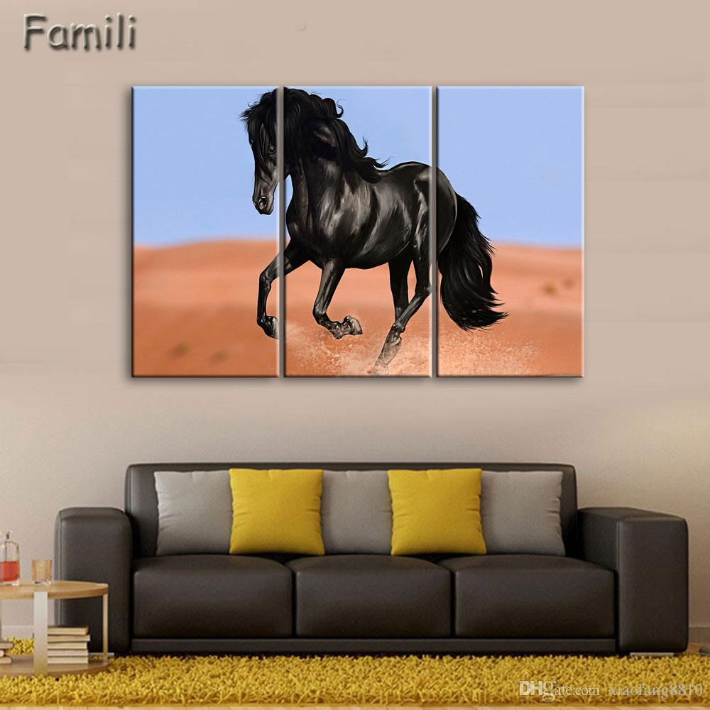 3Pcs/Set Sunset Horse Canvas Painting Animal Poster Vintage Grassland Wall Christmas Canvas Pictures For Home Decor Cheap Wall Art