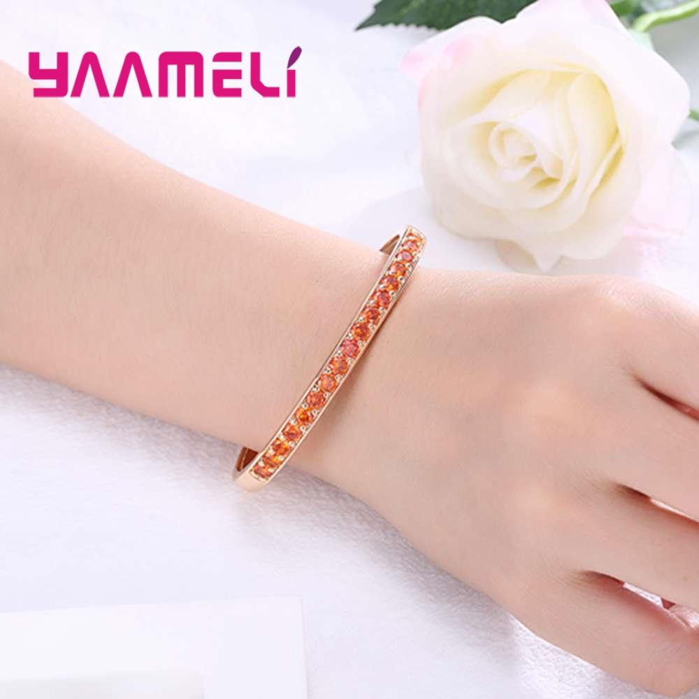 YAAMELI New Fashion Bridal Wedding Engagement Cubic Zirconia Crowded Bangles 925 Sterling Silver Trendy Jewelry Best Gift