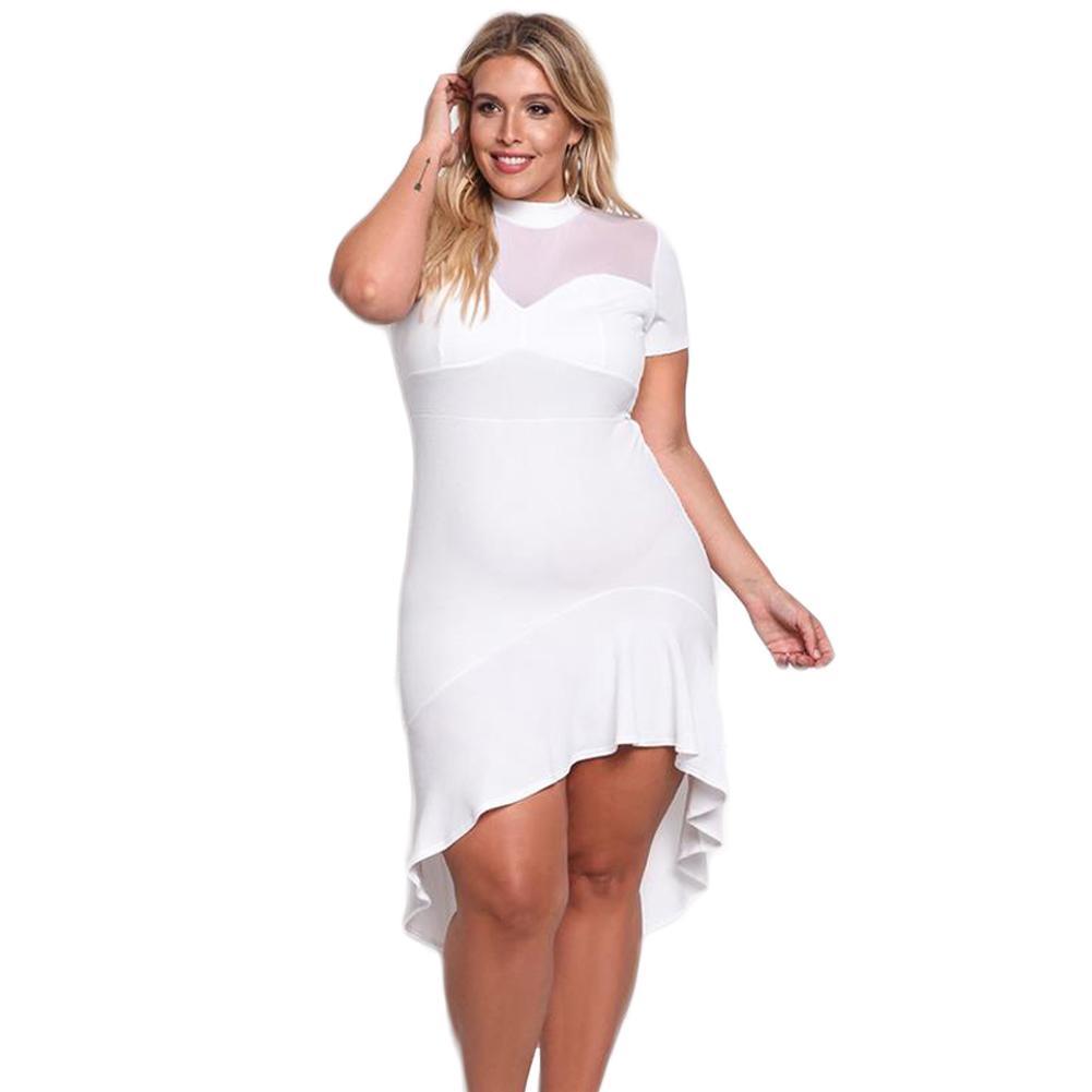 629a25c98ae66 Sexy Women Plus Size Mini Dress Mesh Splice Ruffles Irregular Hem Summer  Dress 2017 Short Sleeve Elegant Party Dress Black/White